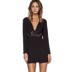 NBD Black On Point Beaded Night Out Dress Short S